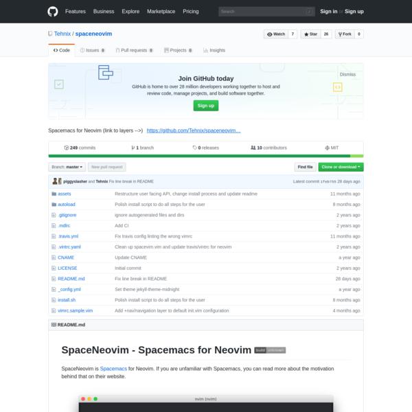 spaceneovim - Spacemacs for Neovim (link to layers -->)