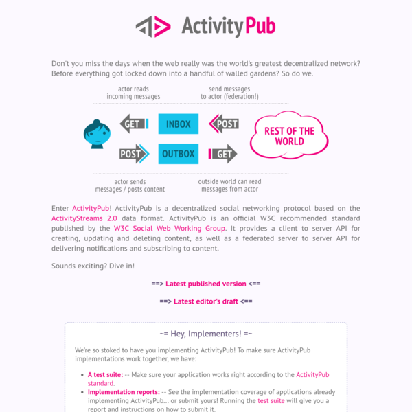 Enter ActivityPub! ActivityPub is a decentralized social networking protocol based on the ActivityStreams 2.0 data format. ActivityPub is an official W3C recommended standard published by the W3C Social Web Working Group. It provides a client to server API for creating, updating and deleting content, as well as a federated server to server API for delivering notifications and subscribing to content.