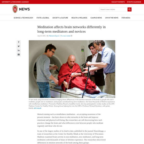 Mental training such as mindfulness meditation - an accepting awareness of the present moment - has been shown to alter networks in the brain and improve emotional and physical well-being. But researchers are still discovering how such practices change the brain and what differences exist between people who meditate regularly and those who do not.