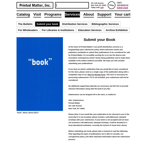 Submit Your Book - Printed Matter