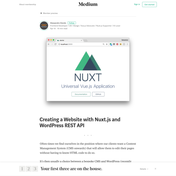 Are na / Creating a Website with Nuxt js and WordPress REST API