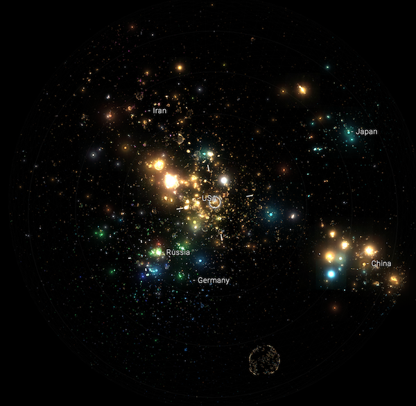 Internet Archive's Webverse (2016) screenshot of the 'galaxies' of cyberspace.