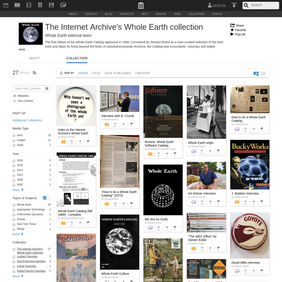 The first edition of the Whole Earth Catalog appeared In 1968. Conceived by Stewart Brand as a user-curated selection of the best tools and ideas for living beyond the limits of suburban/corporate America, the Catalog was iconoclastic, visionary and widely influential. Published between 1968 and...
