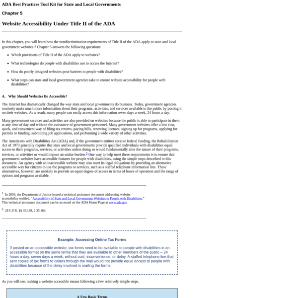 ADA Tool Kit: Website Accessibility Under Title II of the ADA