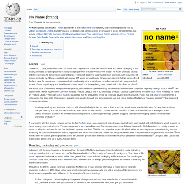 No Name (brand) - Wikipedia