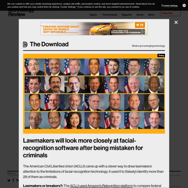 The American Civil Liberties Union (ACLU) came up with a clever way to draw lawmakers' attention to the limitations of facial-recognition technology: it used it to (falsely) identify more than 28 of them as criminals. Lawmakers or breakers?: The ACLU used Amazon's Rekognition platform to compare federal lawmakers' faces with 25,000 publically available mugshots.