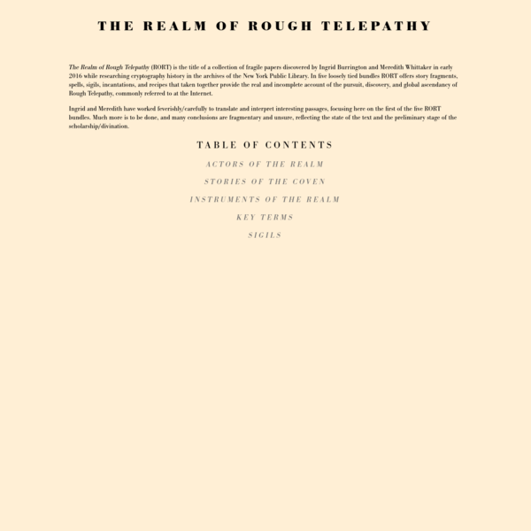 The Realm of Rough Telepathy