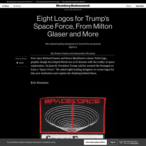 "We asked leading designers to brand the proposed agency. Ever since Richard Danne and Bruce Blackburn's classic NASA logo, graphic design has helped blend our sci-fi dreams with the reality of space exploration. On June 18, President Trump said he wanted the Pentagon to form a ""Space Force."""