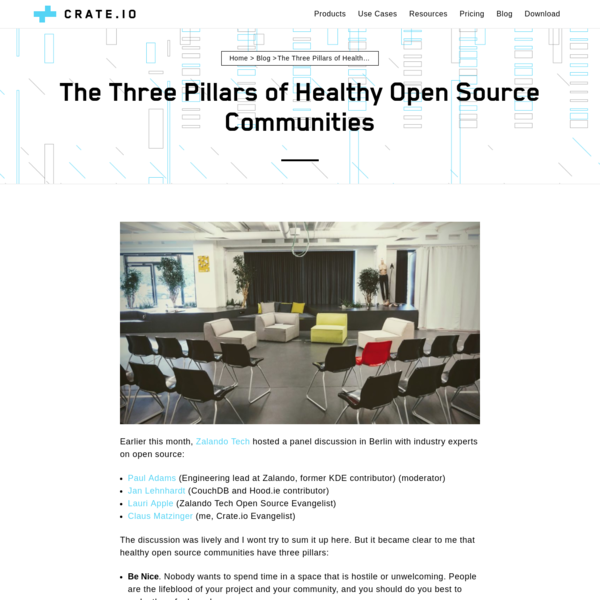 Earlier this month, Zalando Tech hosted a panel discussion in Berlin with industry experts on open source: The discussion was lively and I wont try to sum it up here. But it became clear to me that healthy open source communities have three pillars: Be Nice.