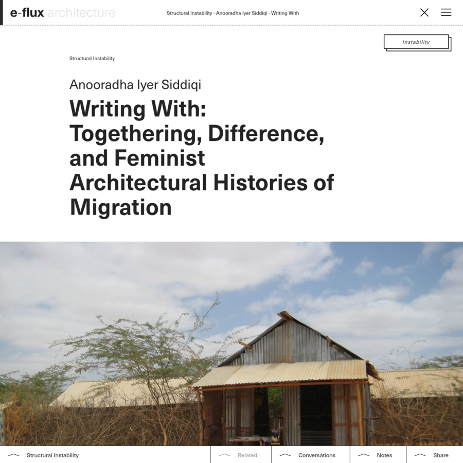 Arguments presented here grew from the deep input of refugees and aid workers I met in camps in Kenya and Ethiopia, and elsewhere. I am thinking carefully on ways of writing with them. The analytic of migration offers a platform to pose two arguments.