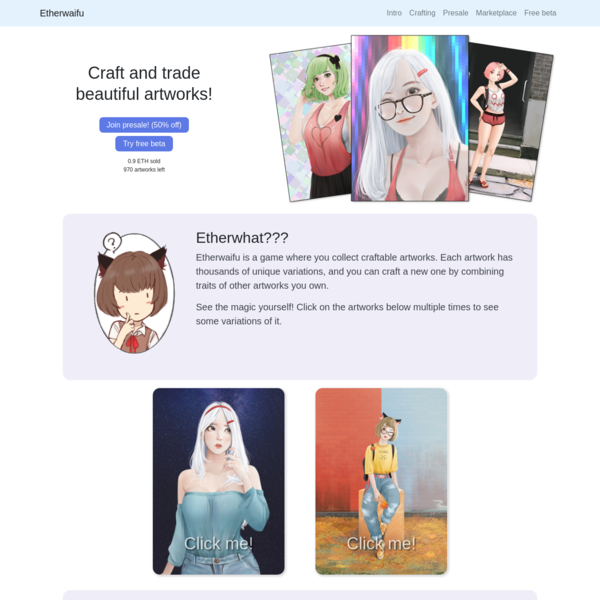 Etherwaifu - Artwork Trading Game on the Ethereum Blockchain