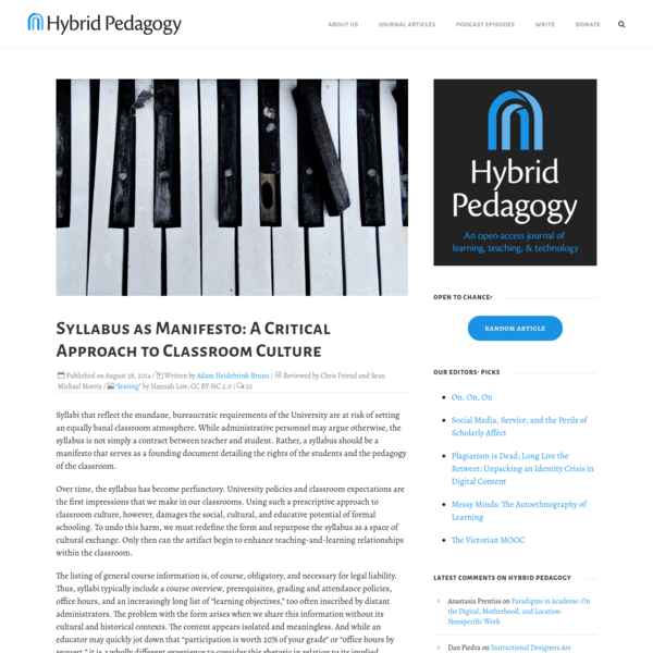 Syllabus as Manifesto: A Critical Approach to Classroom Culture | Hybrid Pedagogy