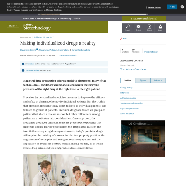 An Erratum to this article was published on 08 August 2017 Magistral drug preparation offers a model to circumvent many of the technological, regulatory and financial challenges that prevent provision of the right drug at the right time to the right patient. Precision (or personalized) medicine promises to improve the efficacy and safety of pharmacotherapy for individual patients.