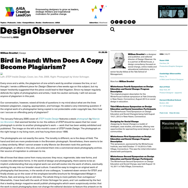 Bird in Hand: When Does A Copy Become Plagiarism?