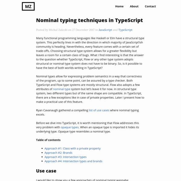 Nominal typing techniques in TypeScript
