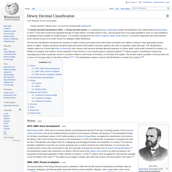 Dewey Decimal Classification - Wikipedia