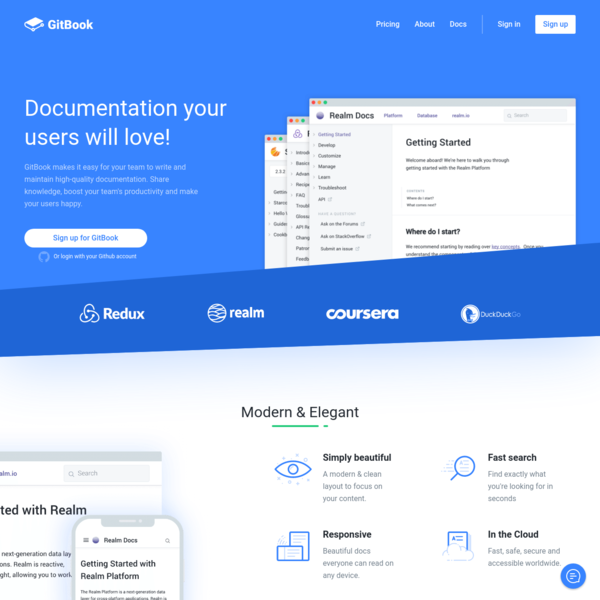 GitBook makes it easy for your team to write and maintain high-quality documentation. Share knowledge, boost your team's productivity and make your users happy.