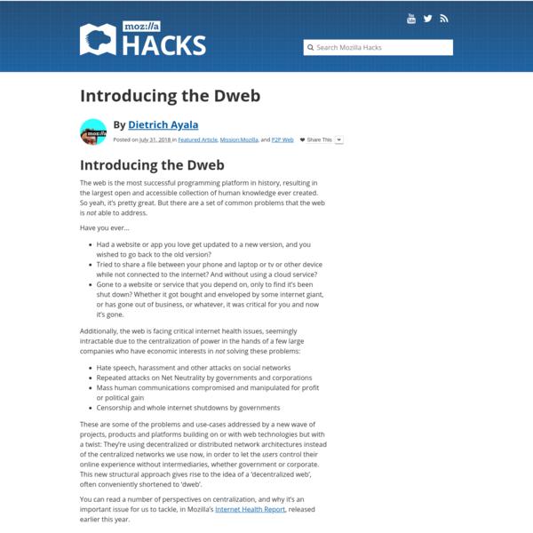 Introducing the Dweb - Mozilla Hacks - the Web developer blog
