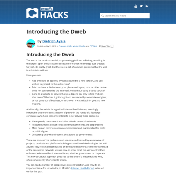 Introducing the Dweb - Mozilla Hacks - the Web developer blog
