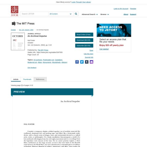 An Archival Impulse on JSTOR