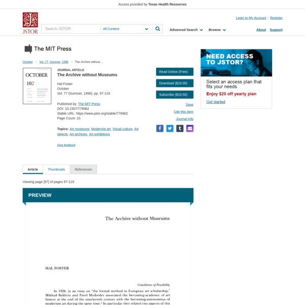 The Archive without Museums on JSTOR