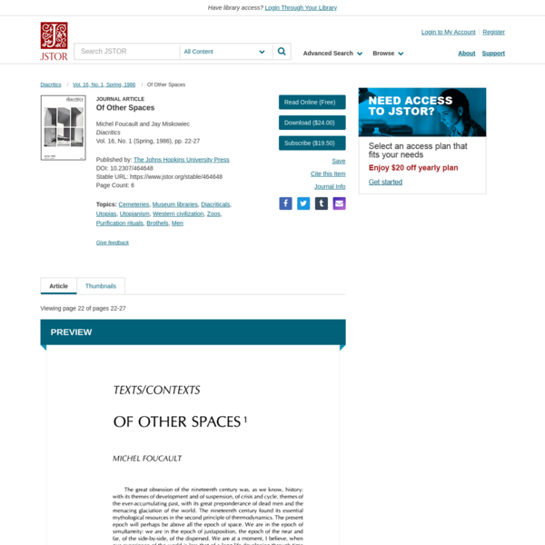 Of Other Spaces on JSTOR