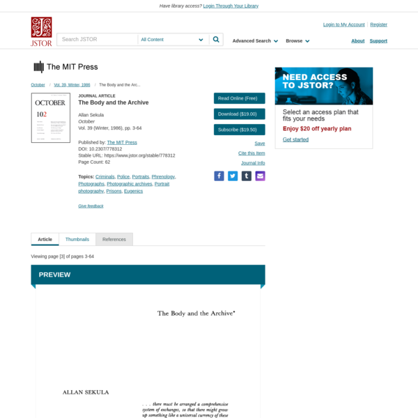 The Body and the Archive on JSTOR