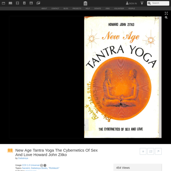 New Age Tantra Yoga The Cybernetics Of Sex And Love Howard John Zitko : Dattatreya : Free Download, Borrow, and Streaming : ...