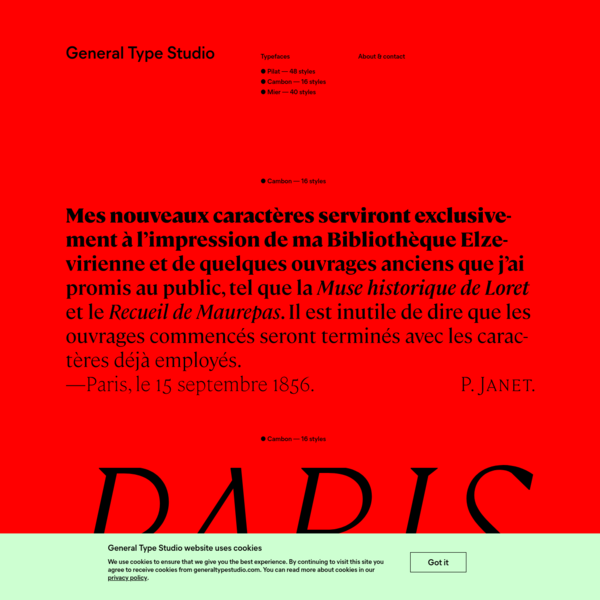 Type foundry based in New York. Fonts by Stéphane Elbaz.
