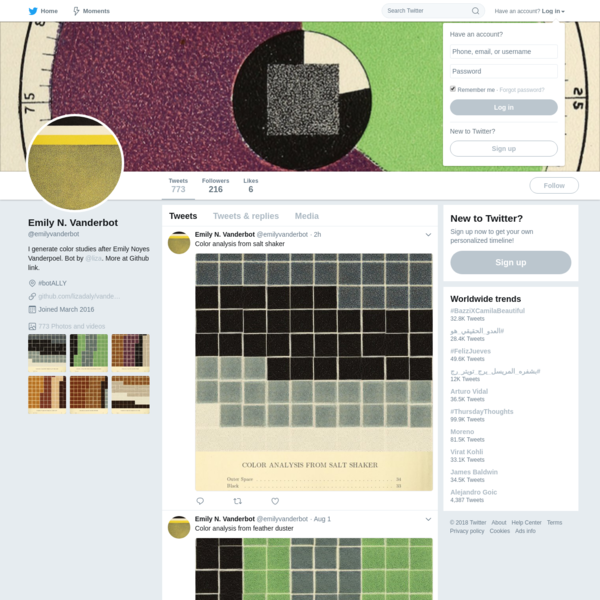 The latest Tweets from Emily N. Vanderbot (@emilyvanderbot). I generate color studies after Emily Noyes Vanderpoel. Bot by @liza. More at Github link. #botALLY