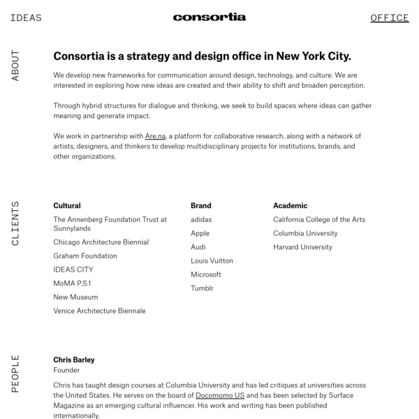 Consortia is a creative research and strategy office in New York. We develop new frameworks for communication.