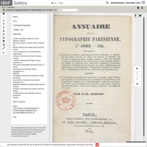 Annuaire de la typographie parisienne et départementale / par E. M. Prétod -- 1844 -- periodiques