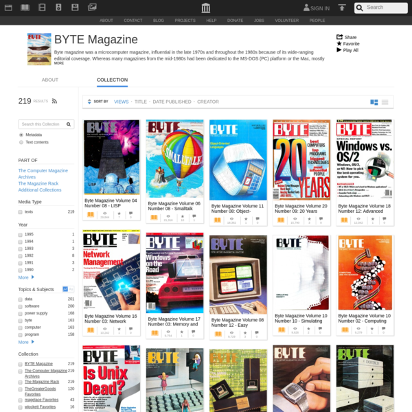Byte magazine was a microcomputer magazine, influential in the late 1970s and throughout the 1980s because of its wide-ranging editorial coverage. Whereas many magazines from the mid-1980s had been dedicated to the MS-DOS (PC) platform or the Mac, mostly from a business or home user's perspective,...