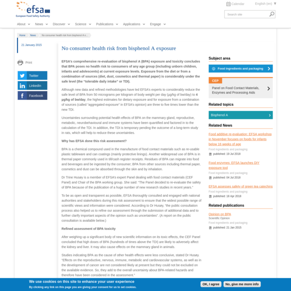 No consumer health risk from bisphenol A exposure