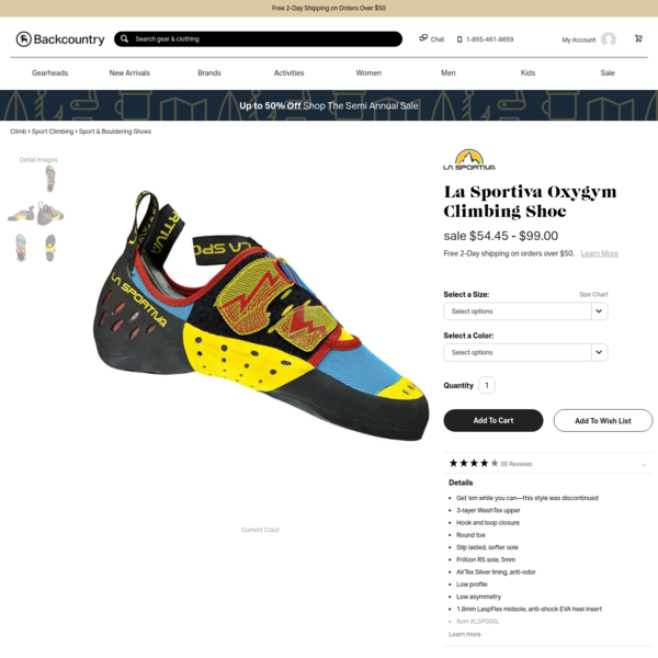 Ever since your climbing gym ran a locals-only special, that's your life: you climb, climb, and then climb some more, ruing your mammal status and wishing you were an arachnid. Whether you're a sport climbing newbie or on a first-name basis with the crew at your gym, the La Sportiva Oxygym Climbing Shoe gives you all-day comfort and the confidence necessary to experience some highs off the ground.
