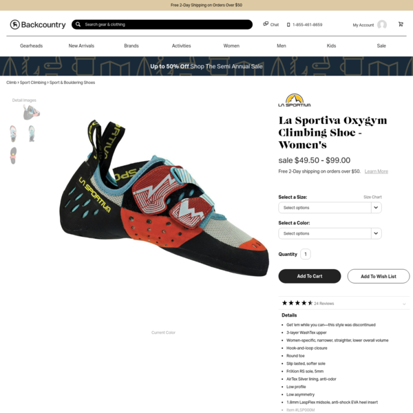 The La Sportiva Women's Oxygym Climbing Shoe features a female-specific fit that makes this shoe narrower with a lower overall volume compared to men's shoes. Whether you're a novice or a certifiable gym rat, this shoe gives you all-day comfort and the confidence necessary to stretch like your arachnid idol.Crafted from synthetic WashTex fabric, this shoe shouldn't stretch too much, even after you spend two straight weeks working out a tough top-rope route indoors.