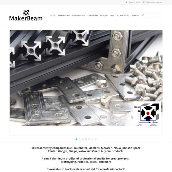 MakerBeam - sales and production of small aluminum profiles and related hardware.