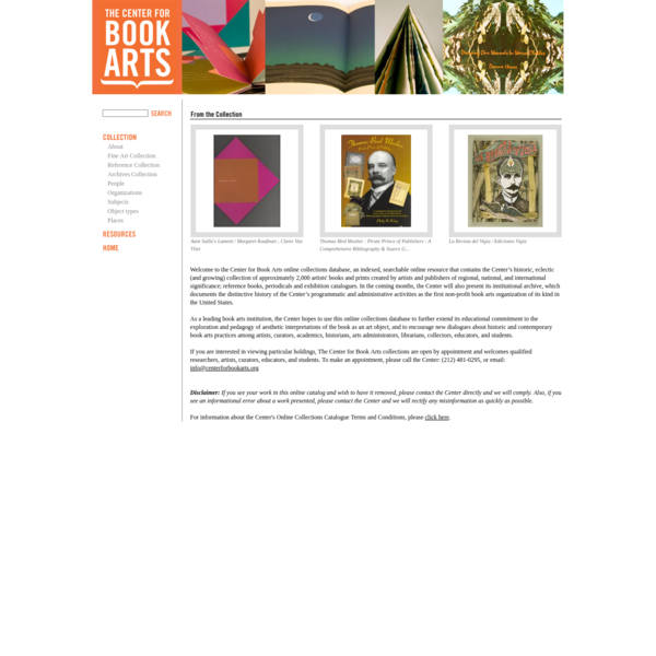Online Collection--Center for Book Arts