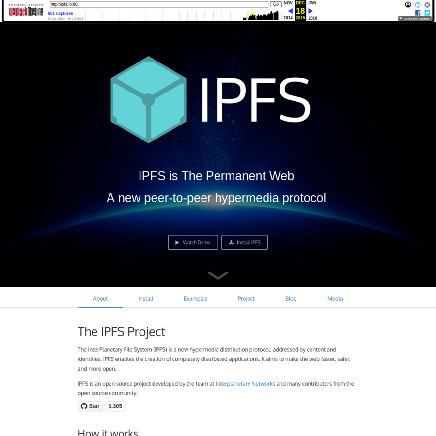 It's interesting to note the IPFS project changed it's tagline from the permanent web to the distributed web at some point.