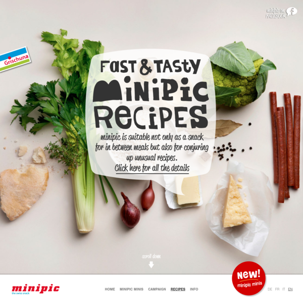 minipic presents three cooking videos with step-by-step instructions for interesting minipic recipes that are easy to follow. One, two, enjoy!