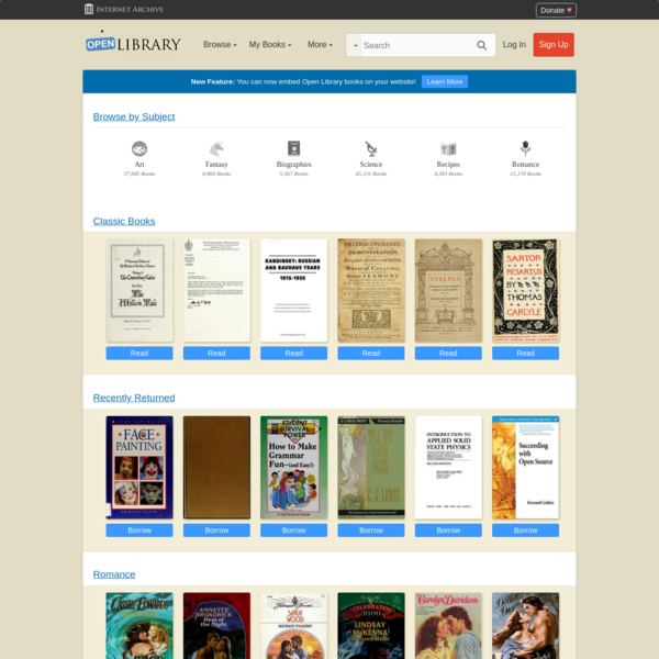 New Feature: You can now embed Open Library books on your website! Learn More