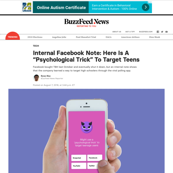 """Facebook's Teen App Used A """"Psychological Trick"""" To Attract High School Downloads"""