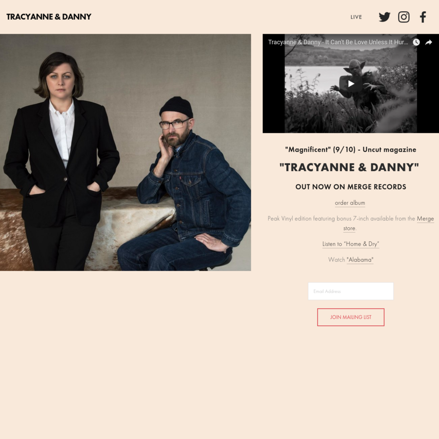 Tracyanne & Danny is a new collaborative project between singer-songwriters Tracyanne Campbell (Camera Obscura) and Danny Coughlan (Crybaby).