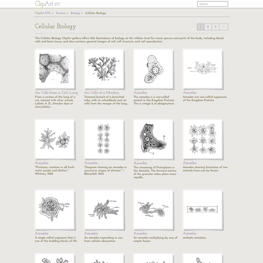 The Cellular Biology ClipArt gallery offers 242 illustrations of biology at the cellular level for many species and parts of the body, including blood cells and bone tissue, and also contains general images of cell, cell structure, and cell reproduction.
