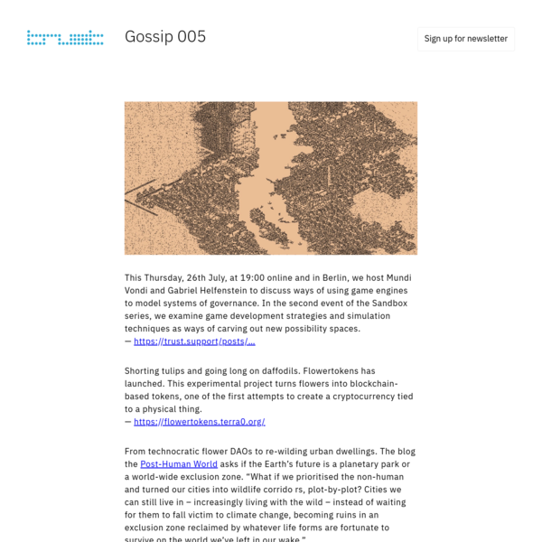 Our weekly newsletter shares resources from across our network, including extracts of stories and myths we understand at the core of technological utopias.