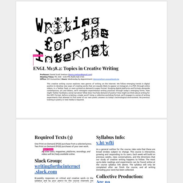 Topics in Creative Writing: Writing for the Internet   Snelson   UCLA   2018
