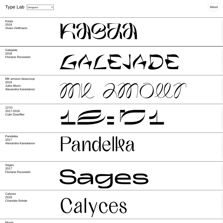 Curated typefaces about young designers.