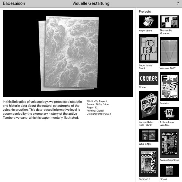 Badesaison - Visuelle Gestaltung - Kleiner Atlas der Vulkanologie