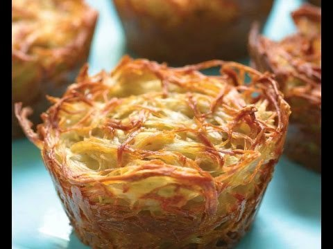 http://www.joyofkosher.com/recipe/potato-kugel-cups/ | Jamie Geller shows you how to make her recipe for Potato Kugel in individual cups. The best part about them is that every piece is a crusty corner piece, so nobody has to fight over that coveted crunch.