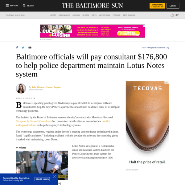 Baltimore officials will pay consultant $176,800 to help police department maintain Lotus Notes system